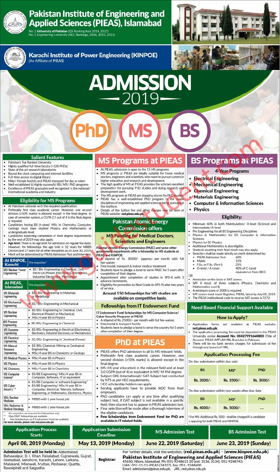 PIEAS University Islamabad Admission Fall 2019 | guidestudent