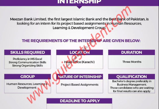 Meezan Bank Limited Internships 2019 | guidestudent