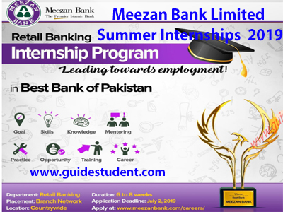 Meezan Bank Limited Summer Internships 2019 | guidestudent