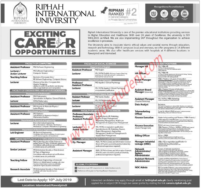 Riphah International University Lecturer Jobs 2019