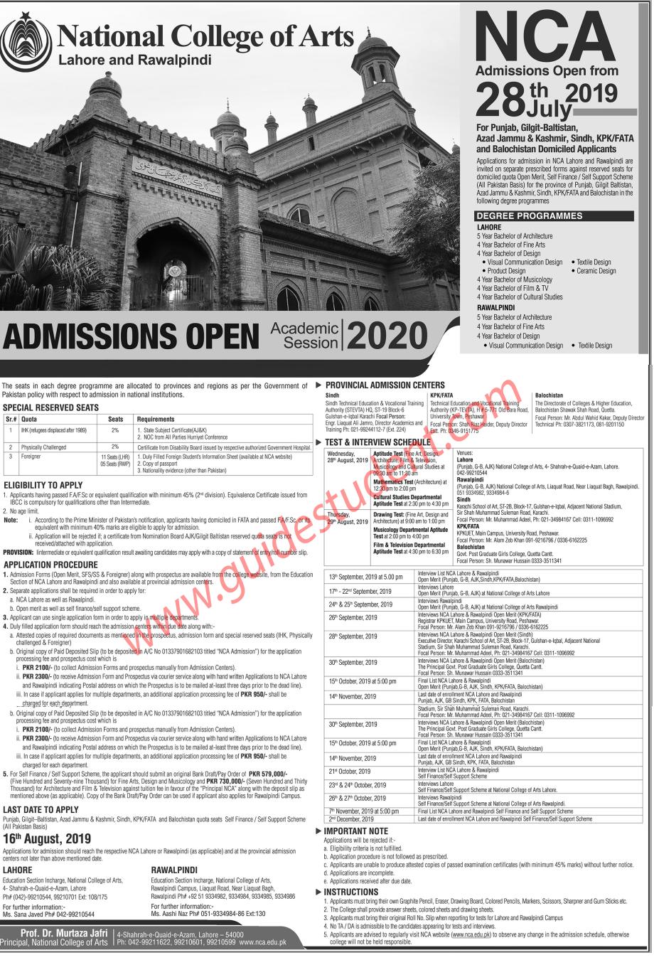 Nca Lahore Rawalpindi Fall Admission 2019 Guidestudent