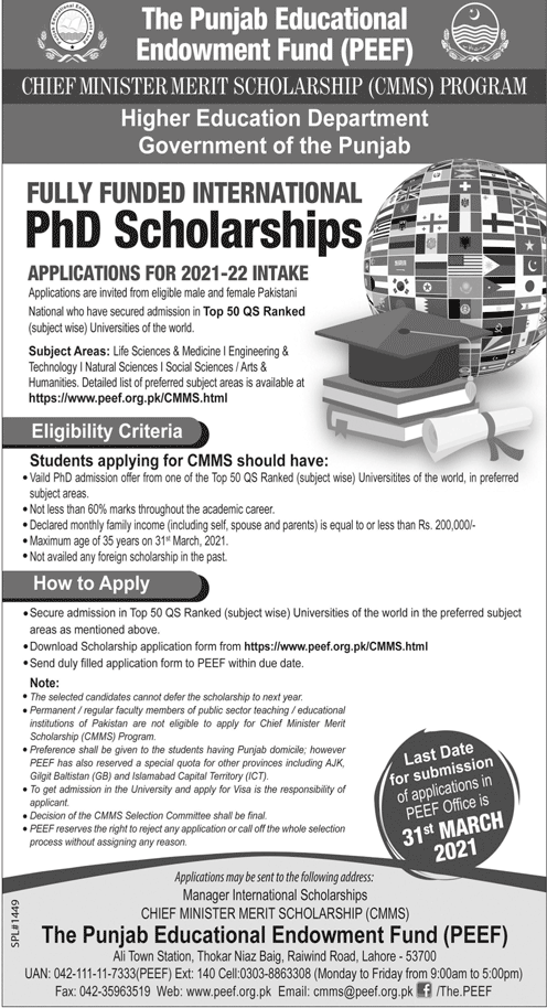 PEEF CMMS Fully Funded Ph.D. Scholarship In World Top Universities 20-21