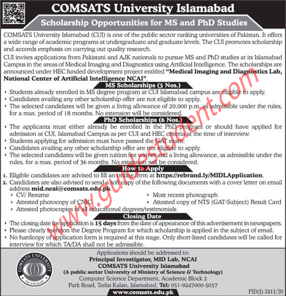COMSATS University Islamabad MS & PHD Scholarship 2021