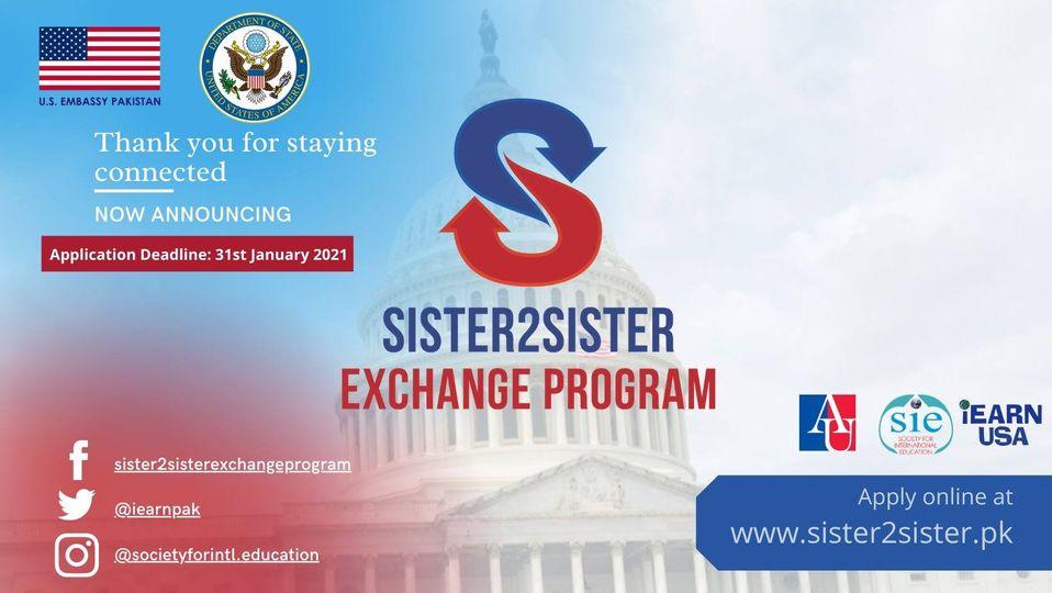 Sister2Sister Exchange Program Fully Funded 2021 USA
