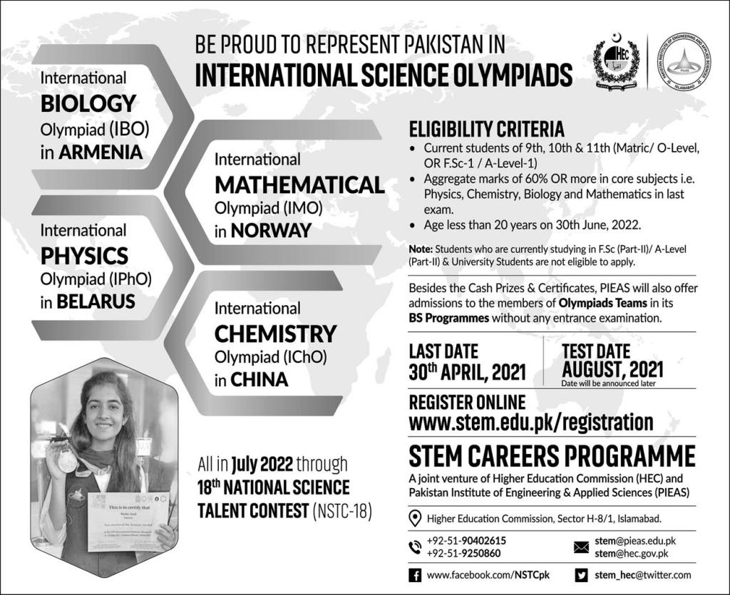 National Science Talent Contest By PIEAS University & HEC 2021